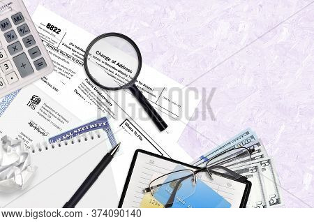 Irs Form 8822 Change Of Address Lies On Flat Lay Office Table And Ready To Fill. U.s. Internal Reven
