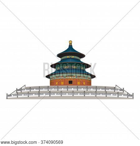 Beijing, Detailed Silhouette. Trendy Vector Illustration, Flat Style. Stylish Colorful Landmarks. Th