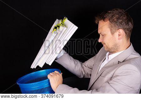 Empty, Useless, Useless Office Work. Technological Concept.