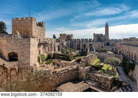The Tower Of David In Ancient Jerusalem Citadel, Near The Jaffa Gate In Old City Of Jerusalem, Israe