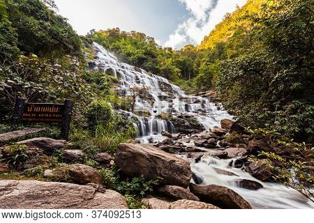Beautiful Waterfall In Thailand Name Mae Ya Waterfall In Chiangmai ,thailand.