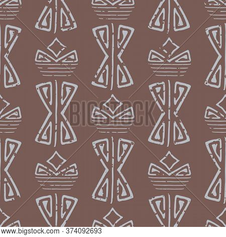 Abstract Aztec Seamless Vector Pattern Background. Brown Backdrop Of Light Blue Faded Hand Drawn Sha