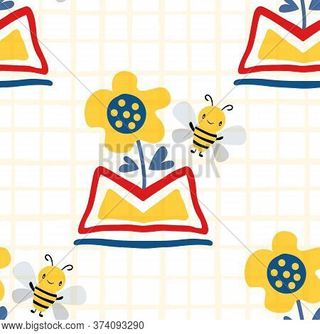Kawaii Honey Bee With Abstract Daffodils In Aztec Motif Vase. Seamless Vector Pattern Background. Cu