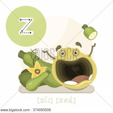 Learning The English Alphabet. Funny Cartoon Character With Zucchini And Letter. The Way To Write A