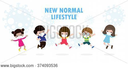 Normal Lifestyle Concept. Happy Group Diverse Kids And Different Nationalities Kids Jumping Wearing