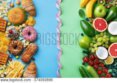 Healthy And Unhealthy Food Background From Fruits And Vegetables Vs Fast Food, Sweets And Pastry Top