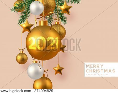 Christmas Horizontal Banner With Realistic Golden And White Hanging Baubles, Metal Stars And Pine Br