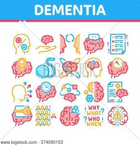 Dementia Brain Disease Collection Icons Set Vector. Dementia Mind Degenerative Illness, Memory Loss