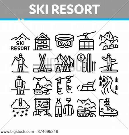 Ski Resort Vacation Collection Icons Set Vector. Ski Snow Track And Shoe, Protective Glasses And Sle