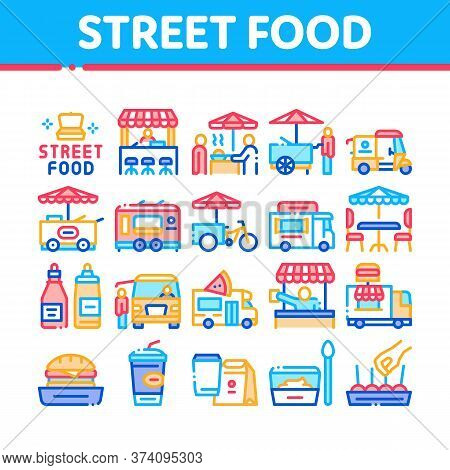Street Food And Drink Collection Icons Set Vector. Food Truck And Bicycle, Cart And Stand, Burger An
