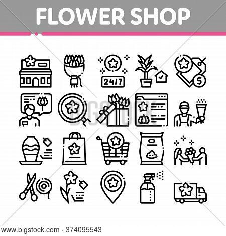 Flower Shop Boutique Collection Icons Set Vector. Flower Store Building And Delivery, Floral Present