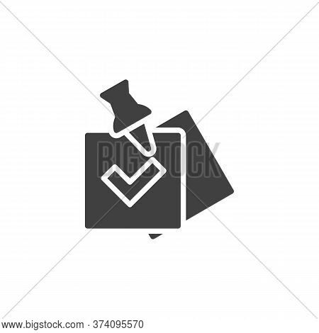 Check List With Push Pin Vector Icon. Task Done Filled Flat Sign For Mobile Concept And Web Design.