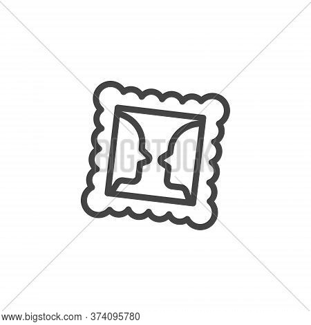 Thin Outline Icon Framed Picture. Such Line Sign As Gallery, Visual Perception, Picture. Vector Comp