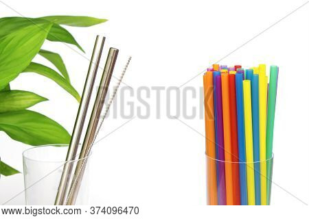 Plastic Vs Eco Steel Straw. Reusable Sustainable Cocktail Metal Straw With Special Brush And Green L