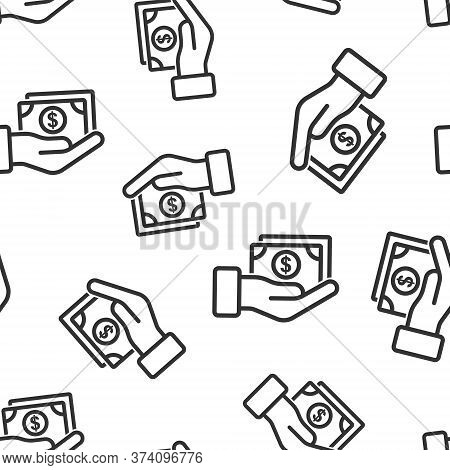Remuneration Icon In Flat Style. Money In Hand Vector Illustration On White Isolated Background. Ban