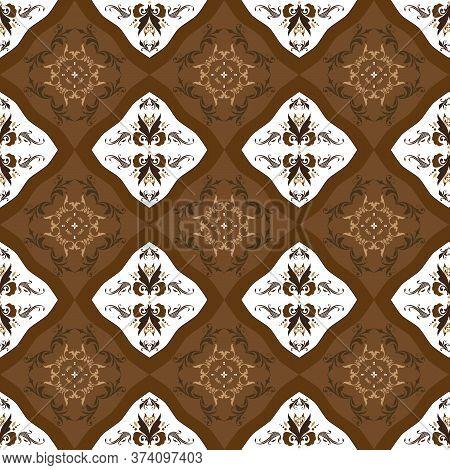 Elegance Flower Motifs On Tradisional Batik Design With White Brown Color