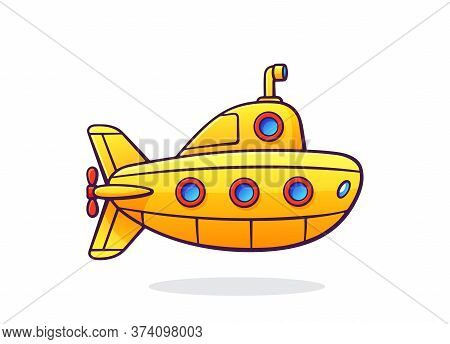Submarine with periscope and portholes. Yellow bathyscaphe. Traveling on diving ship. Underwater transport. Vector illustration with outline in cartoon style. Clip art Isolated on white background