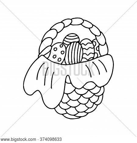 Hand Drawn Vector Illustration Of A Nice Wicker Basket With Easter Eggs Isolated On White Background