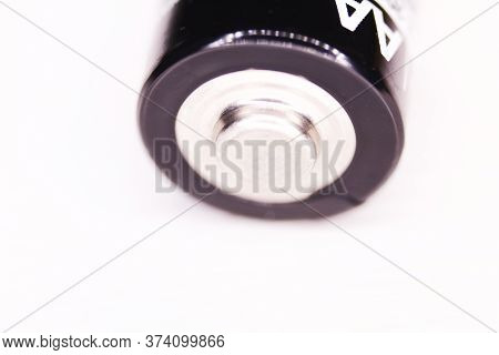 One Aa Battery Isolated On White Background. Macro Shot.