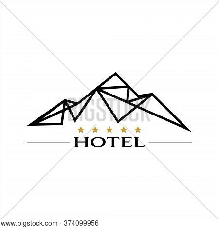 Mountain Hotel Logo Modern Black Line Art Vector Tourism And Travel Graphic Design Template Idea