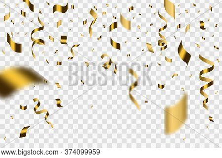 Falling Shiny Golden Confetti Isolated On Transparent Background.  Festive Illustration Of Falling S