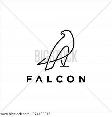 Falcon Logo Simple Modern Black Line Art Vector Abstract Animal Graphic Design Template Idea