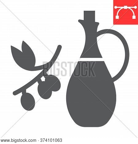 Bottle Of Olive Oil With Branch Glyph Icon, Cook And Keto Diet, Olive Oil Sign Vector Graphics, Edit