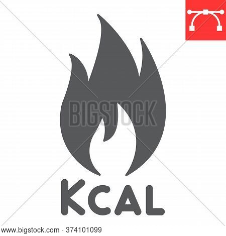 Calories Burn Glyph Icon, Fitness And Keto Diet, Fire Sign Vector Graphics, Editable Stroke Solid Ic