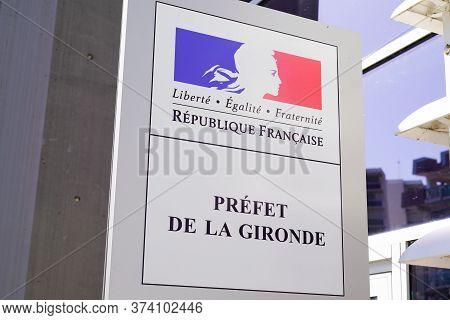 Bordeaux , Aquitaine / France - 06 14 2020 : Prefect Republique Francaise Signage Logo France Republ
