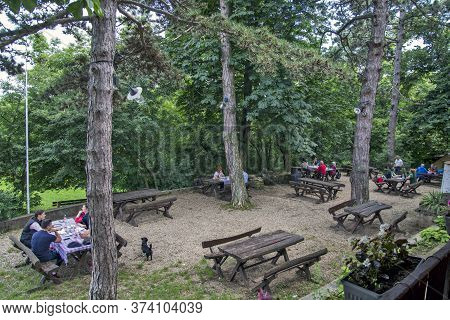 Vrsac, Mountain Lodge, Serbia, June 20, 2020. A Beautiful And Pleasant Restaurant In The Woods That