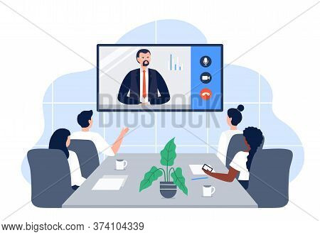 Business Video Conference In The Room With Co-workers. Video Call Meeting With Ceo At The Video Proj