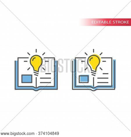 Light Bulb And Open Book Or Textbook Vector Icon. Lightbulb, Knowledge, Education Concept Outline Co