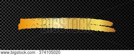 Gold Paint Brush Smear Stroke. Abstract Gold Glittering Sketch Scribble Smear On Dark Transparent Ba