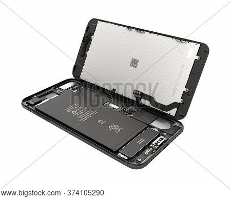 Smartphone In The Open State Illustration Of Smartphone Components Isolated On White Background 3d R