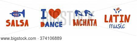 Set Of Hand Drawn Red And Blue Stickers. Lettering And Elements On The Theme Of Latin Dances And Mus