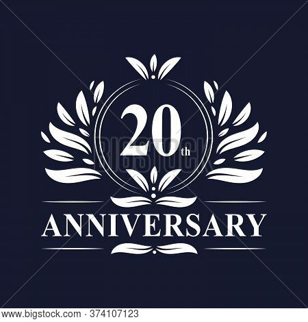 20 Years Anniversary Logo, Luxurious 20th Anniversary Design Celebration.