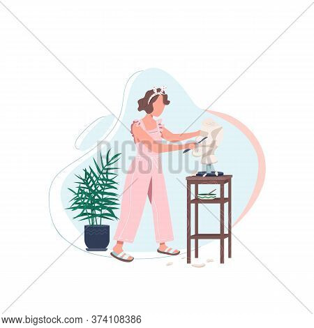 Female Artist With Sculpt Flat Color Vector Faceless Character. Woman Work In Art Studio. Carving Ma