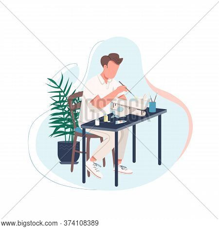 Man With Plane Model Flat Color Vector Faceless Character. Man Doing Diy Activity At Home. Pastime F