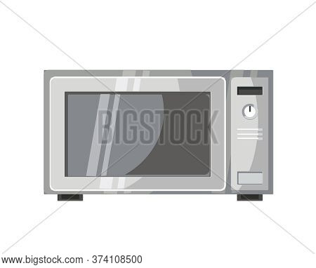 Microwave Oven. Background Illustration Closed. Vector Realistic Style. Tips For Interior And Design