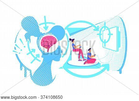 Visual Perception Of Information Flat Concept Vector Illustration. Male And Female Playing Video Gam