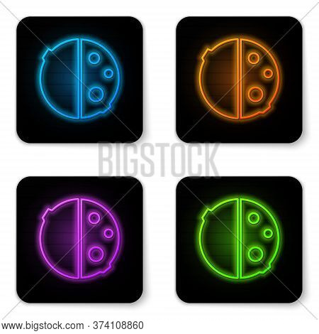 Glowing Neon Eclipse Of The Sun Icon Isolated On White Background. Total Sonar Eclipse. Black Square