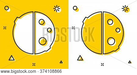 Black Eclipse Of The Sun Icon Isolated On Yellow And White Background. Total Sonar Eclipse. Random D