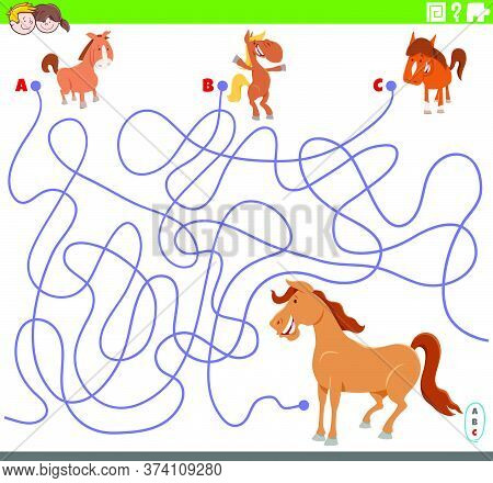 Cartoon Illustration Of Lines Maze Puzzle Game With Comic Colts And Mare Horse