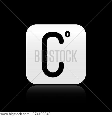 Black Celsius Icon Isolated On Black Background. Silver Square Button. Vector Illustration