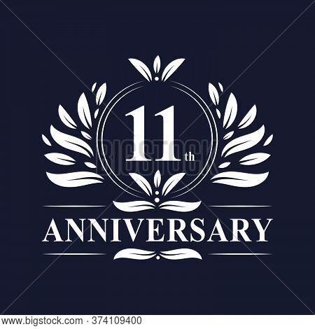 11 Years Anniversary Logo, Luxurious 11th Anniversary Design Celebration.