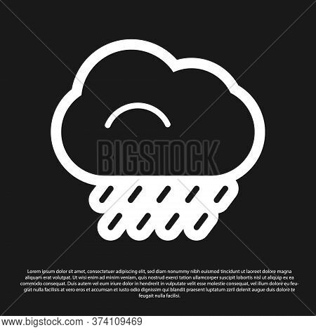Black Cloud With Rain Icon Isolated On Black Background. Rain Cloud Precipitation With Rain Drops. V