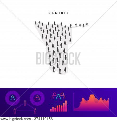 Namibia People Map. Detailed Vector Silhouette. Mixed Crowd Of Men And Women Icons. Population Infog