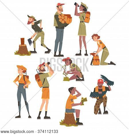 Forest Rangers At Working Set, National Park Service Employee Characters In Uniform Cartoon Style Ve