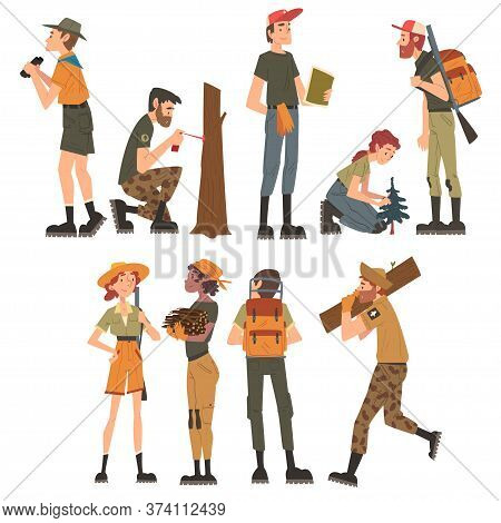 Male And Female Forest Rangers Working In Forest Set, National Park Service Employee Characters In U