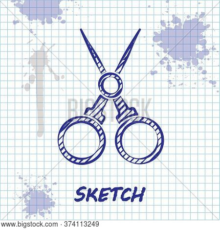 Sketch Line Scissors Hairdresser Icon Isolated On White Background. Hairdresser, Fashion Salon And B